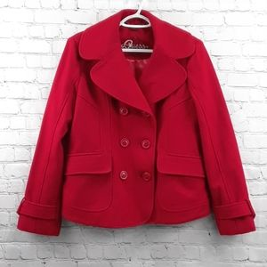 ❤ Guess Brand Red Wool Coat Size Large